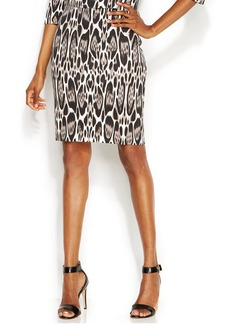 INC International Concepts Petite Animal-Print Pencil Skirt