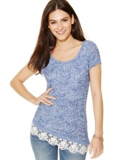 Inc International Concepts Short-Sleeve Marled Lace-Trim Sweater