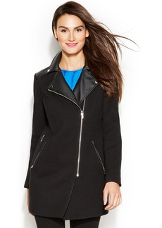 INC International Concepts Petite Asymmetrical Mixed-Media Faux-Leather-Trim Coat