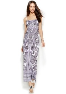 INC International Concepts Petite Beaded Paisley-Print Maxi Dress