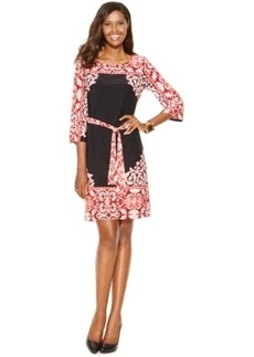 Inc International Concepts Petite Border-Print Belted Sheath Dress