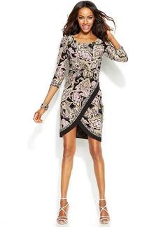 INC International Concepts Petite Border-Trim Crossover Dress