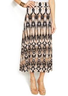 INC International Concepts Petite Calico Ikat-Print Maxi Skirt