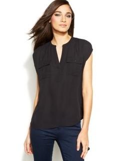 Inc International Concepts Petite Cap-Sleeve Button-Pocket Top
