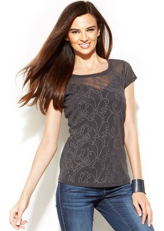 INC International Concepts Petite Cap-Sleeve Embroidered Mesh Tee