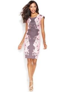 INC International Concepts Cap-Sleeve Floral-Print Sheath Dress