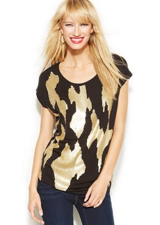 INC International Concepts Petite Cap-Sleeve Gold-Sequined Top