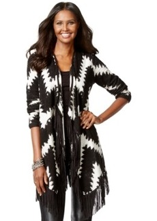 Inc International Concepts Petite Chevron-Print Fringe Cardigan, Only at Macy's