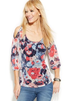 INC International Concepts Cold-Shoulder Printed Peasant Top
