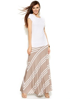 INC International Concepts Petite Colorblock-Stripe Maxi Skirt