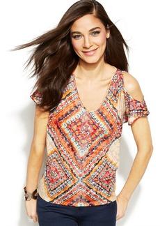 INC International Concepts Petite Cut-Out Shoulder Embellished Top