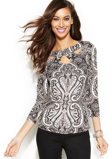 INC International Concepts Petite Cutout Printed Top