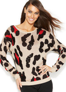 INC International Concepts Petite Dolman-Sleeve Animal-Print Sequined Sweater