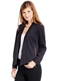 Inc International Concepts Petite Draped Faux-Suede Jacket