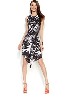 INC International Concepts Petite Draped Faux-Wrap Dress