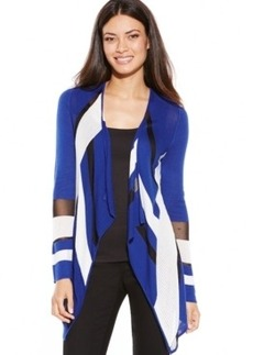 Inc International Concepts Petite Draped Illusion Colorblock Cardigan