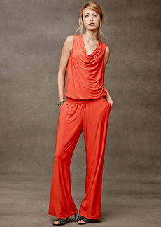 INC International Concepts Petite Draped-Neck Sleeveless Jumpsuit