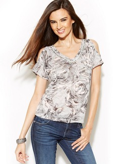 INC International Concepts Petite Embellished Printed Cold-Shoulder Top