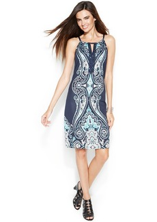INC International Concepts Petite Embellished Printed Halter Dress