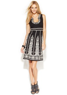 INC International Concepts Petite Embroidered A-Line Dress