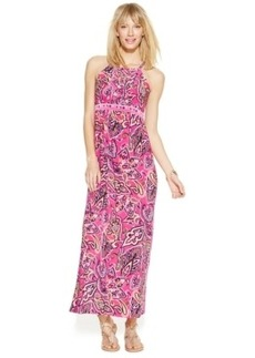 INC International Concepts Petite Empire Waist Paisley-Print Halter Maxi Dress