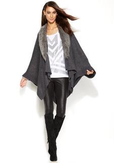 INC International Concepts Petite Faux-Fur-Collar Poncho Sweater