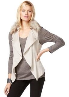 Inc International Concepts Petite Faux-Fur-Trim Draped Vest, Only at Macy's