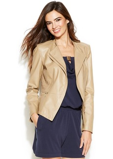 INC International Concepts Petite Faux Leather and Lace Jacket