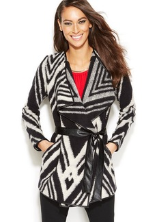 INC International Concepts Petite Faux-Leather-Trim Belted Striped Cardigan