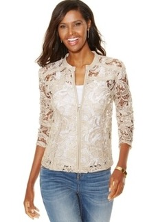 Inc International Concepts Petite Faux-Leather-Trim Lace Jacket