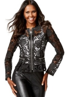 Inc International Concepts Petite Faux-Leather-Trim Lace Peplum Jacket, Only at Macy's