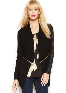 INC International Concepts Faux-Leather-Trim Open-Front Cardigan