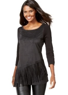 Inc International Concepts Petite Faux-Suede Fringe Top, Only at Macy's