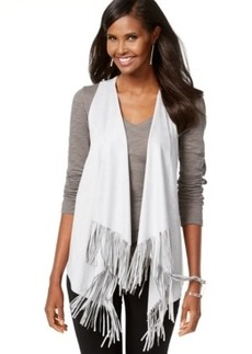 Inc International Concepts Petite Faux-Suede Fringe-Trim Vest, Only at Macy's