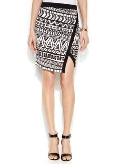 INC International Concepts Petite Faux-Wrap Printed Skirt