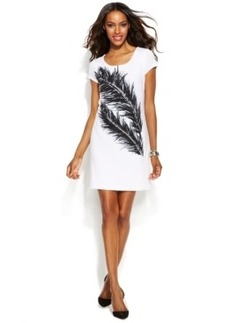 INC International Concepts Short-Sleeve Feather-Print Sheath Dress