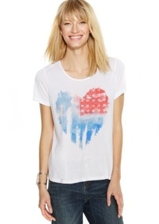 Inc International Concepts Plus Size Flag-Print Heart Tee