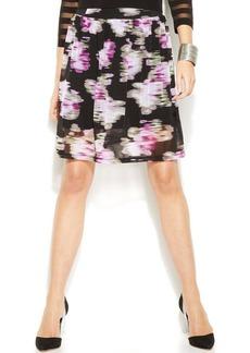 INC International Concepts Petite Floral-Print A-Line Skirt
