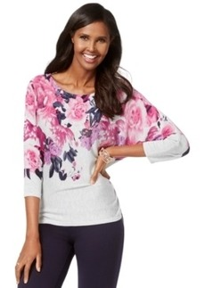 Inc International Concepts Floral-Print Dolman-Sleeve Sweater, Only at Macy's