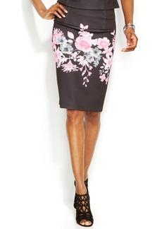 INC International Concepts Petite Floral-Print Pencil Skirt