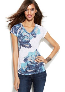 INC International Concepts Petite Floral-Print Sequin Tee