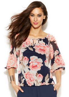 INC International Concepts Floral Printed Peasant Top