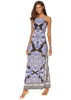 Inc International Concepts Printed Hardware-Trim Halter Maxi Dress