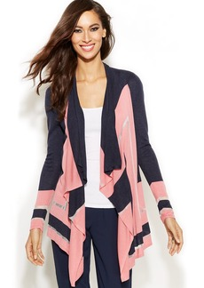 INC International Concepts Draped Colorblock Cardigan