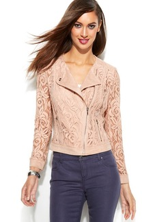 INC International Concepts Petite Illusion Lace Moto Jacket