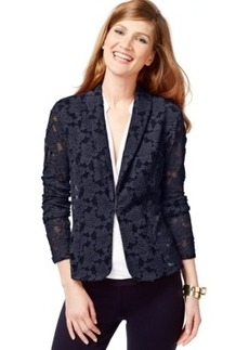 Inc International Concepts Petite Illusion-Mesh Floral Blazer, Only at Macy's