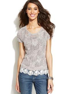 INC International Concepts Petite Lace-Trim Crochet Sweater