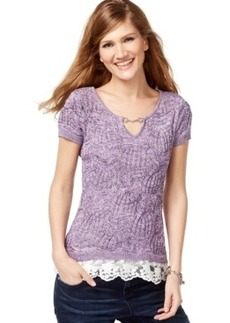 Inc International Concepts Petite Lace-Trim Keyhole Sweater, Only at Macy's