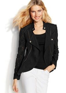 INC International Concepts Petite Lace-Trim Linen Moto Jacket