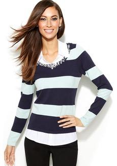 INC International Concepts Petite Layered-Look Rhinestone-Embellished Sweater
